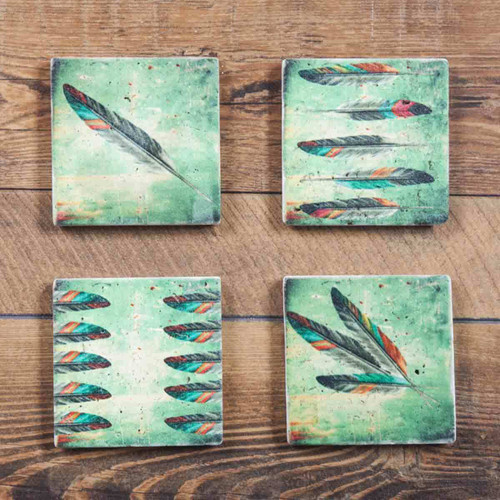 Dancing Feathers Coasters - Set of 4