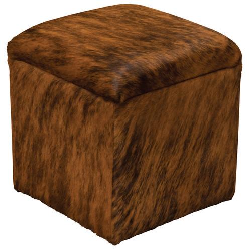 Dark Brindle Hair on Hide Leather Storage Cube