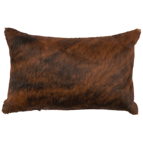 Dark Brindle Hair-on-Hide Rectangle Pillow with Fabric Back