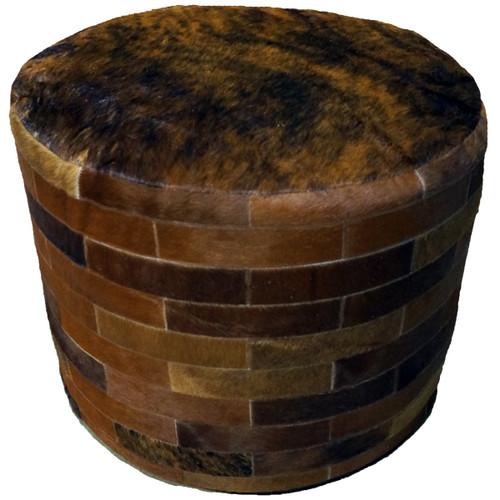 Dark Brown Round Cowhide Ottoman - 24 Inch