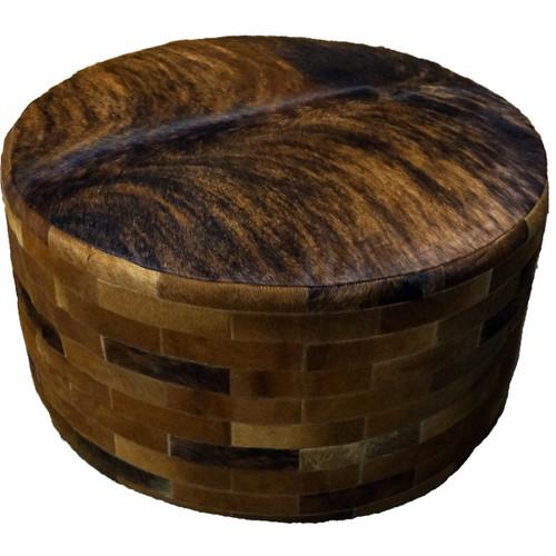 Dark Brown Round Cowhide Ottoman - 36 Inch