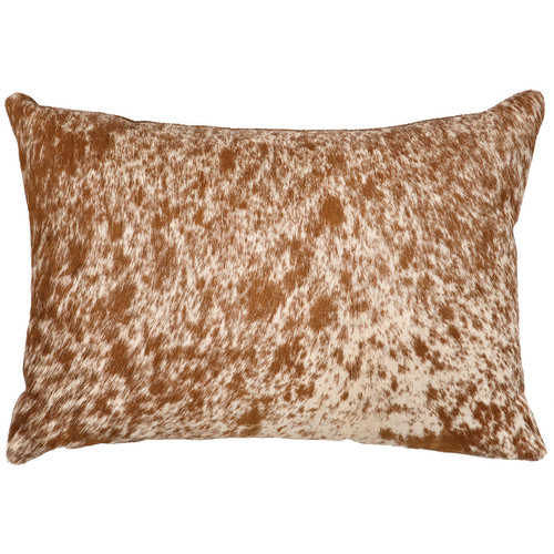 Dark Brown Speckled Hair on Hide Pillow with Fabric Back