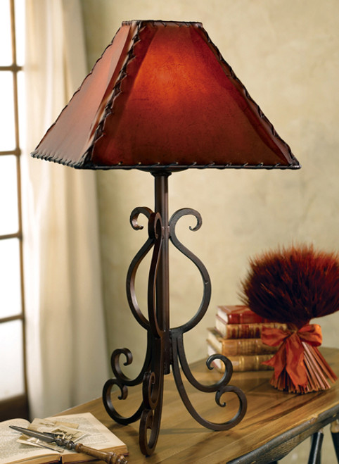 Old West Iron Lamp with Rawhide Shade
