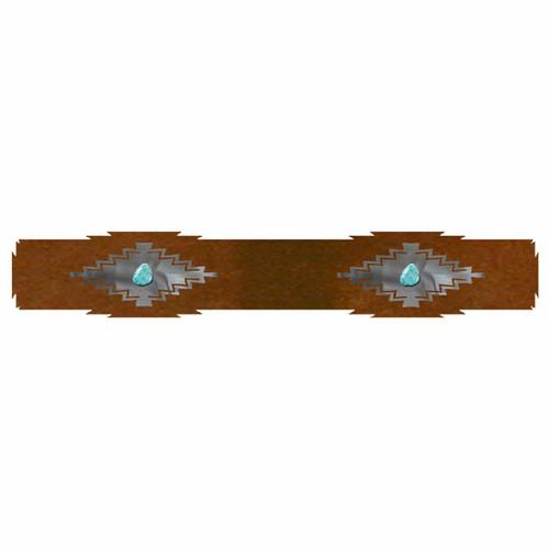 Desert Diamond Rug Rail with Turquoise - 24 Inch