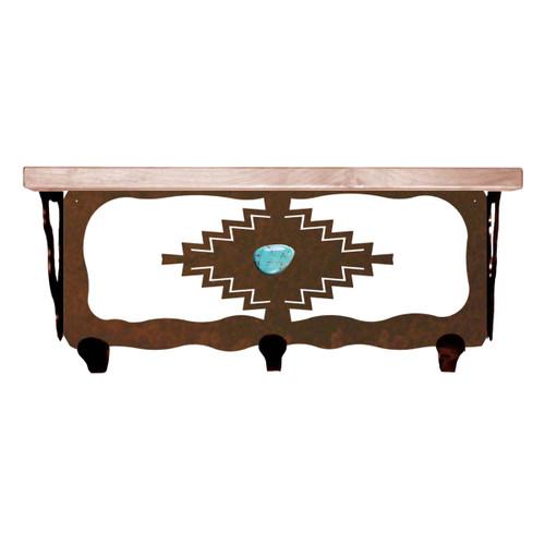 Desert Diamond Shelf/Coat Rack with Turquoise - 20 Inch