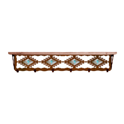 Desert Diamond Turquoise 42 Inch Pine Hook Shelf