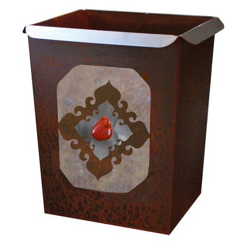 Southwest Diamond Waste Basket with Red Jasper Stone