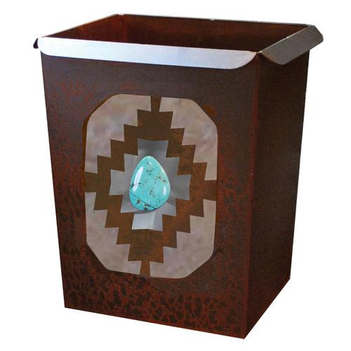 Southwest Diamond Waste Basket with Turquoise Stone