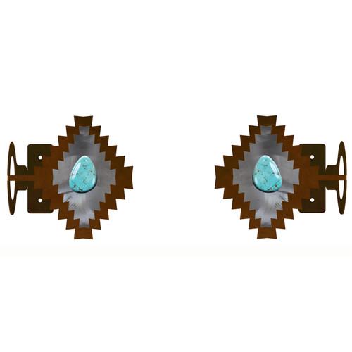 Desert Diamond with Turquoise Rod Brackets - Set of 2