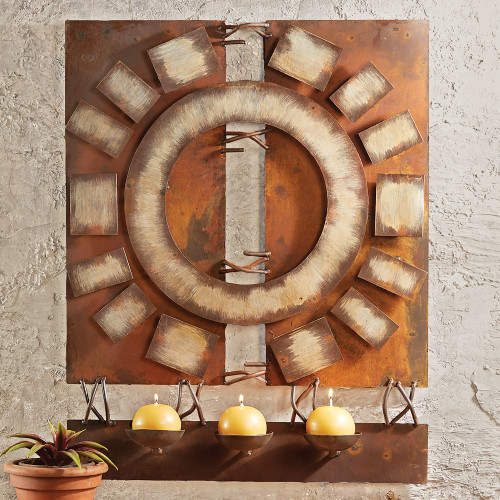 Desert Fire Metal Art Wall Hanging with Candles