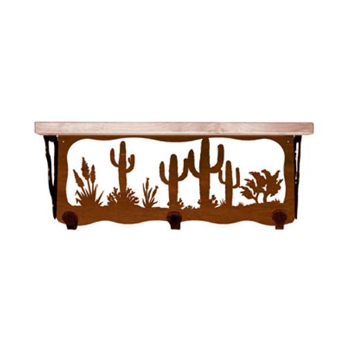 Desert Scene 20 Inch Pine Hook Shelf