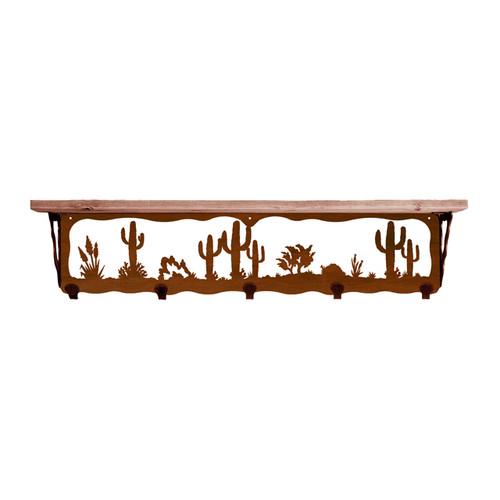 Desert Scene 34 Inch Pine Hook Shelf