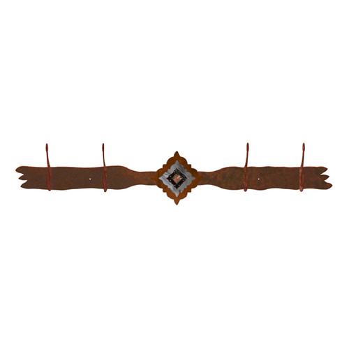 Diamond Copper Berry Concho 4 Hook Coat Rack