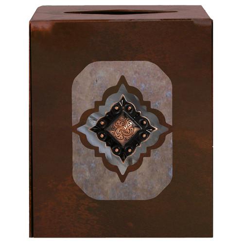 Diamond Copper Concho Square Tissue Box Cover