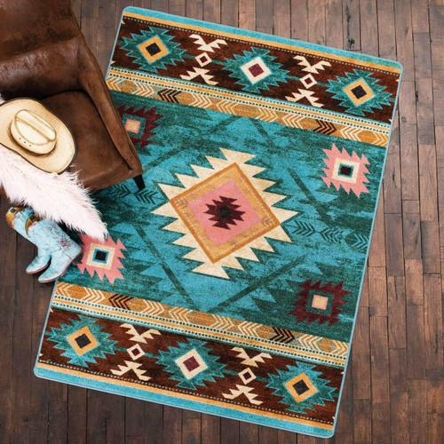 Diamond Creek Turquoise Rug - 3 x 4