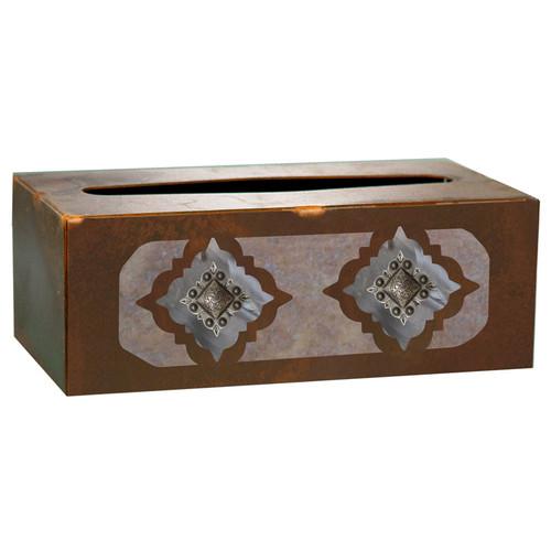 Diamond Silver Concho Rectangle Tissue Box Cover