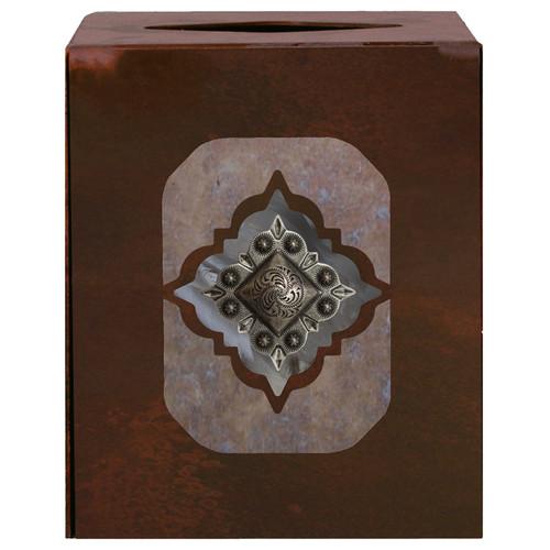 Diamond Silver Concho Square Tissue Box Cover