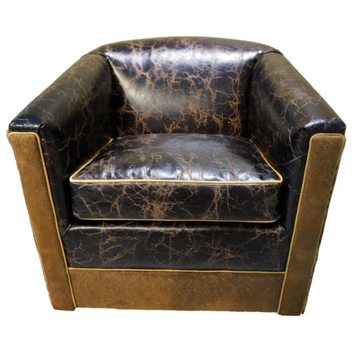 Distressed Leather & Cowhide Swivel Glider