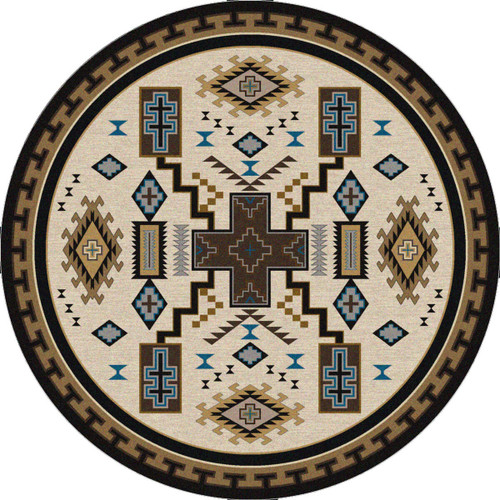 Double Cross Blue Rug - 8 Ft. Round