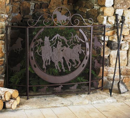 Running Horses Fireplace Screen