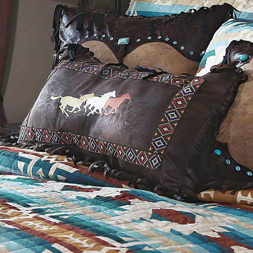 Earth & Sky Three Horses Embroidered Pillow - OVERSTOCK