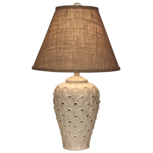 Ecru Feather Pot Table Lamp