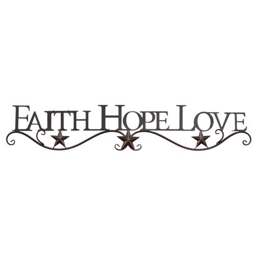 Faith, Hope, Love Metal Star Wall Hanging