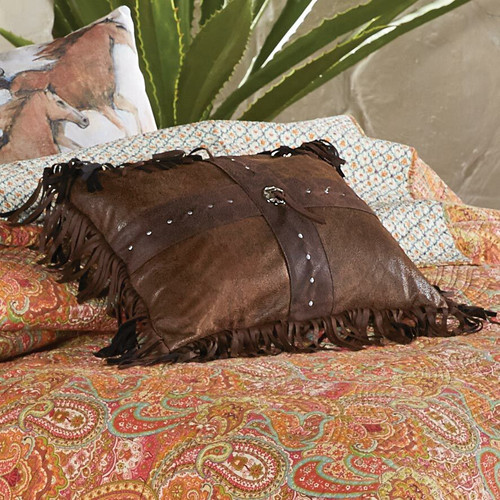 Faux Leather Cross Pillow
