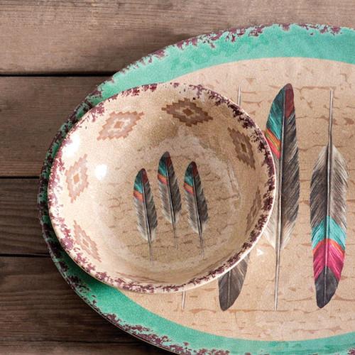 Feather Design Melamine Bowls - Set of 4