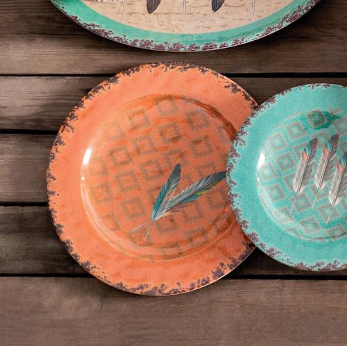 Feather Design Melamine Dinner Plates - Set of 4