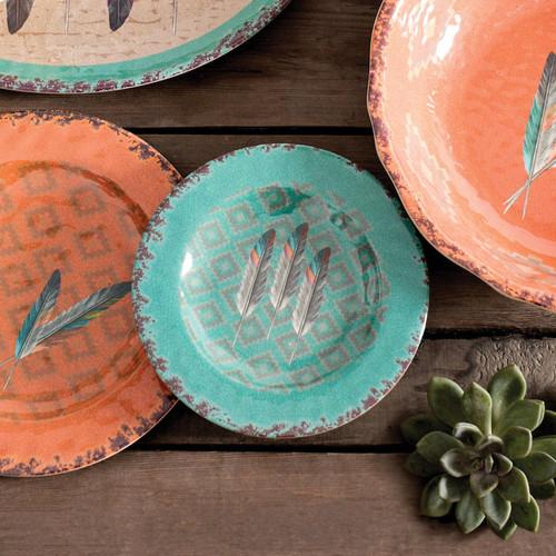 Feather Design Melamine Salad Plates - Set of 4