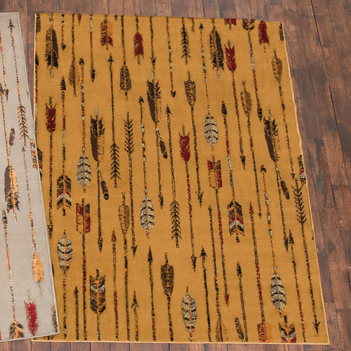 Feathered Arrows Beige Rug -5 x 7