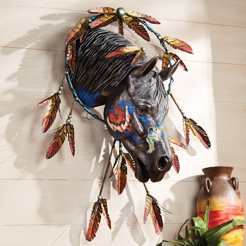Feathered Warrior Horse Wall Sculpture