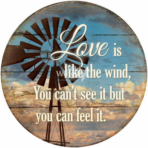 Feel Love Round Wood Sign