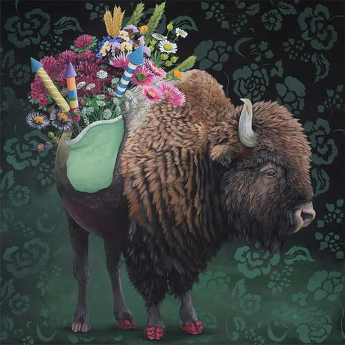 Festive Bison Canvas Wall Art