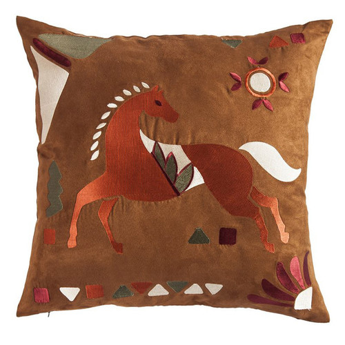 Fire Dance Embroidered Horse Pillow