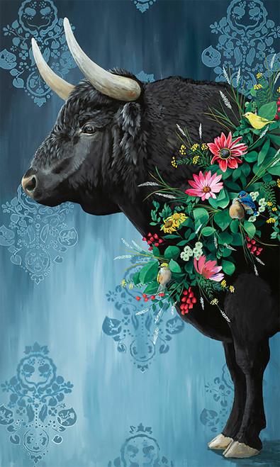 Floral Bull Canvas Wall Art