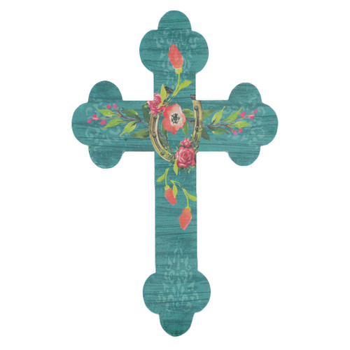 Floral Horseshoe Wall Cross