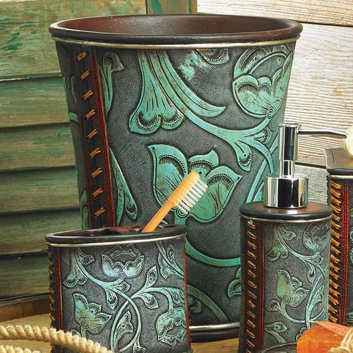 Floral Tooled Turquoise Waste Basket