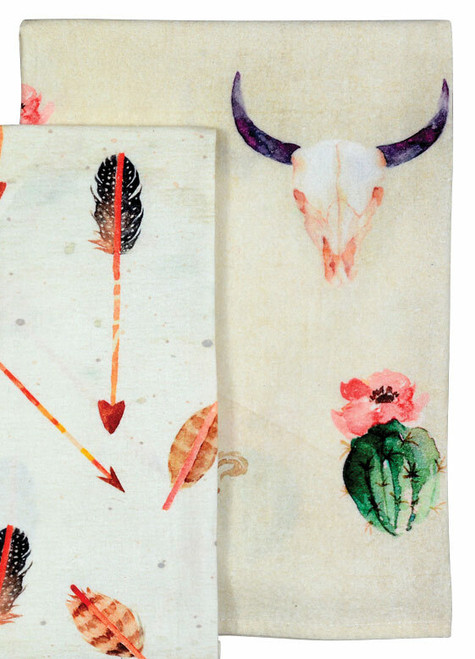 Flowering Cactus & Skulls Tea Towels - Set of 5