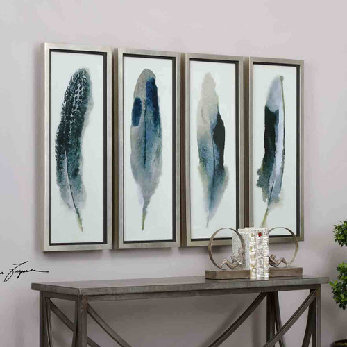 Four Feathers Wall Art - Set of 4