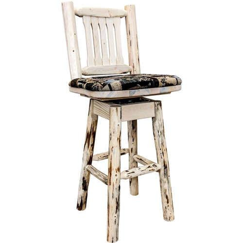 Frontier Barstool with Back, Swivel & Woodland Upholstered Seat