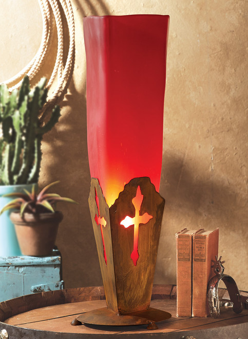 Frosted Red Glass Iron Cross Lamp