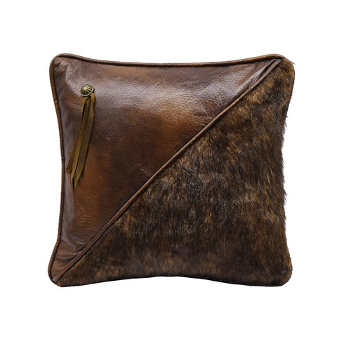 Fur and Tassel Faux Leather Pillow