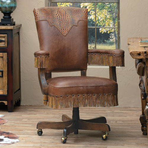 Gator Gulch Tooled Leather Executive Chair