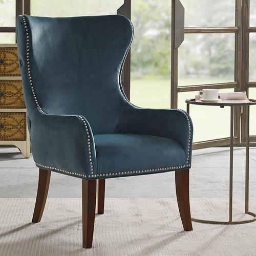 Geoffrey Button - Tufted Back Accent Chair - Blue
