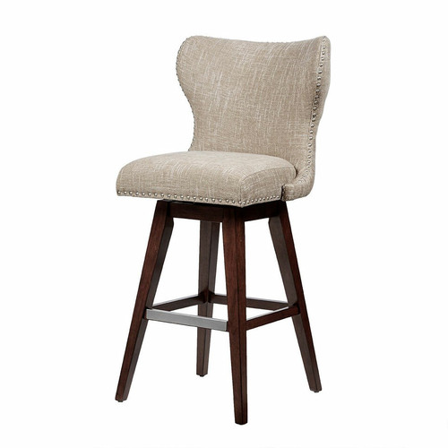 Geoffrey High Wingback Button Tufted Swivel Barstool - Camel/Brown