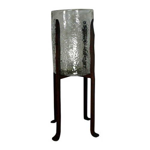 Granulated Clear Glass Cylinder on Tower Base - Large
