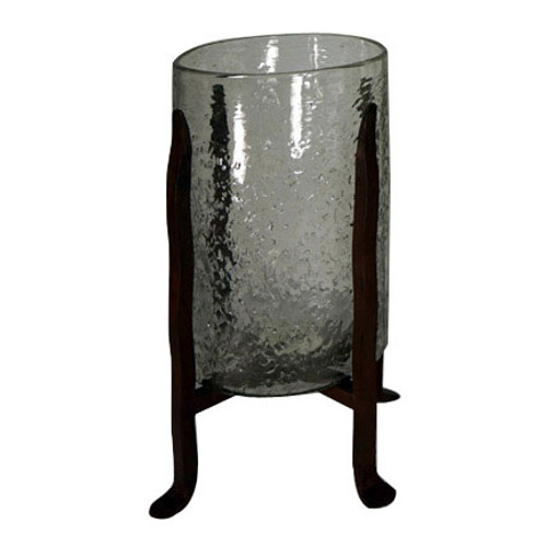 Granulated Clear Glass Cylinder on Tower Base - Small