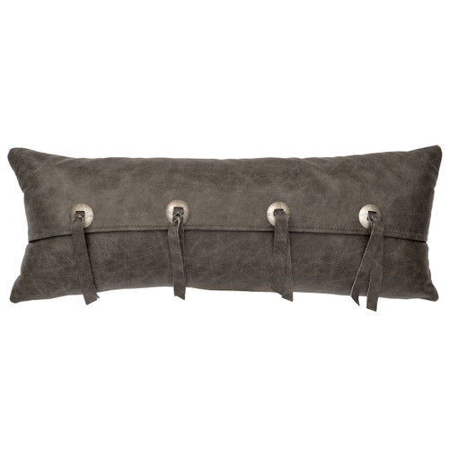 Gray Leather & Conchos Leather Pillow - Fabric Back
